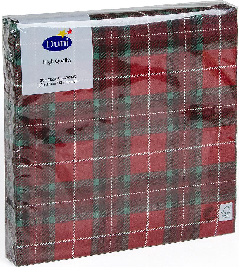 Салфетки бумажные Duni Tartan, 3-слойные, 33 х 33 смMB980Многослойные бумажные салфетки изготовлены из экологически чистого, высококачественного сырья - 100% целлюлозы. Салфетки выполнены в оригинальном и современном стиле, прекрасно сочетаются с любым интерьером и всегда будут прекрасным и незаменимым украшением стола.