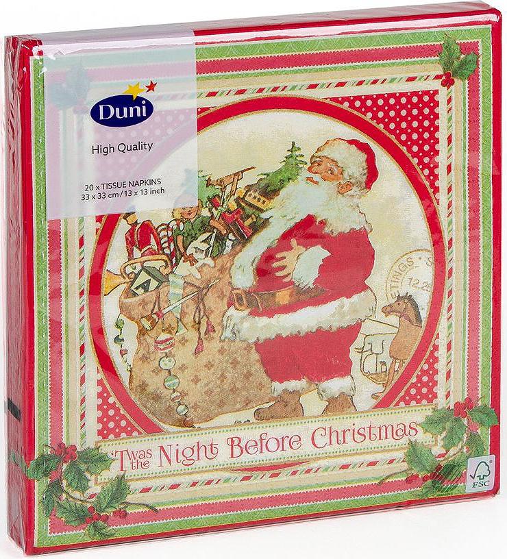 Салфетки бумажные Duni Vintage Santa, 3-слойные, 33 х 33 см, 20 штIRK-503Трехслойные бумажные салфетки Duni Vintage Santa изготовлены из экологически чистого, высококачественного сырья - 100% целлюлозы. Они выполнены в оригинальном и современном стиле, прекрасно сочетаются с любым интерьером и всегда будут прекрасным и незаменимым украшением стола.Размер салфеток: 33 х 33 см.