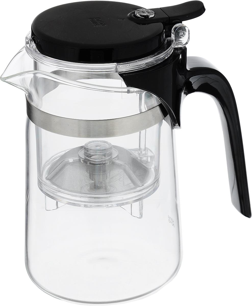 Чайник заварочный Samadoyo, с фильтром и клапаном, 500 мл. SAG-08391602Чайник заварочный Samadoyo изготовлен из пластика, стекла и металла. Этот чайник - отличное решение, как для домашнего, так и для профессионального использования. Изделие отличает лаконичный дизайн и прекрасная функциональность. Основное преимущество таких чайников - удобство и быстрота при заваривании дорогих сортов чая в любых условиях. Чайник состоит из заварочной колбы с крышкой и чайника из жаропрочного стекла. Чай заваривается в верхней колбе, а благодаря кнопке, быстро сливается в нижнюю, основную емкость. Таким образом, можно точно рассчитать время заваривания.Диаметр чайника (по верхнему краю): 7,5 см.Общая высота: 15 см.Высота фильтра: 10 см.Объем чайника: 500 мл.Объем колбы: 150 мл.