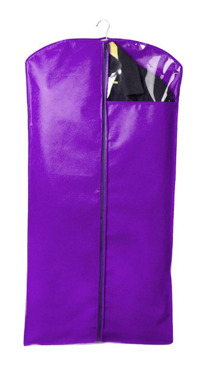 Чехол для одежды Miolla, цвет: фиолетовый, 120 х 60 смCLP446Чехол для костюмов и платьев Miolla на застежке-молнии выполнен из высококачественного нетканого материала. Подходит для длительного хранения вещей.Чехол обеспечивает вашей одежде надежную защиту от влажности, повреждений и грязи при транспортировке, от запыления при хранении и проникновения моли. Чехол обладает водоотталкивающими свойствами, а также позволяет воздуху свободно поступать внутрь вещей, обеспечивая их кондиционирование. Размер чехла: 120 х 60 см.