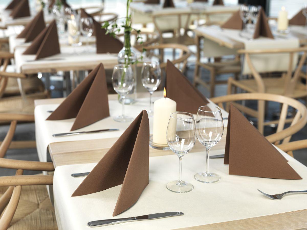Салфетки бумажные Duni Lin, цвет: коричневый, 40 смVT-1520(SR)Трехслойные бумажные салфетки изготовлены из экологически чистого, высококачественного сырья - 100% целлюлозы. Салфетки выполнены в оригинальном и современном стиле, прекрасно сочетаются с любым интерьером и всегда будут прекрасным и незаменимым украшением стола.