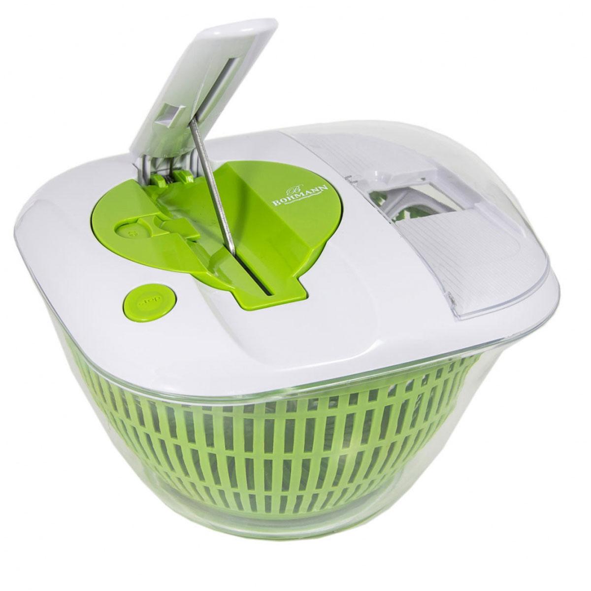 Сушилка для овощей Bohmann, со встроенным слайсером, 5 л391602Сушилка для овощей со встроенным слайсером. Включает порезку на ломтики и мелкие кусочки. С волнистыми режущими лезвиями. Защитная рукоятка. Прочная полистерольная миска. Можно мыть в посудомоечной машине. Система АБС. Моет, перемешивает, сервирует - все в одном.Объем: 5 л.