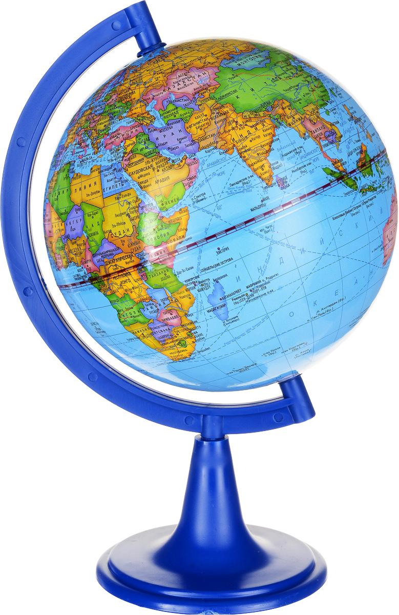 Глобусный мир Глобус с политической картой мира диаметр 15 см 1002010020Глобус Глобусный мир с политической картой мира, изготовленный из высококачественного прочного пластика, показывает страны мира, границы того или иного государства, расположение столиц государств, городов и населенных пунктов.Изделие расположено на черной пластиковой подставке. На глобусе отображены картографические линии: параллели и меридианы, а также градусы и условные обозначения. Все страны мира раскрашены в разные цвета. Глобус с политической картой мира станет незаменимым атрибутом обучения не только школьника, но и студента. Названия стран на глобусе приведены на русском языке.Настольный глобус Глобусный мир станет оригинальным украшением рабочего стола или вашего кабинета. Это изысканная вещь для стильного интерьера, которая станет прекрасным подарком для современного преуспевающего человека, следующего последним тенденциям моды и стремящегося к элегантности и комфорту в каждой детали.Масштаб: 1:84 000 000.