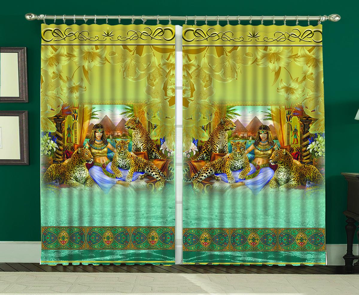 Комплект штор МарТекс Нефертити, 150 х 270 см04420-ШД-ГБ-001Комплект штор МарТекс, выполненный из качественного полиэстера, великолепно украсит любое окно. Комплект состоит из двух штор. Ткань с печатным оригинальным рисунком привлечет к себе внимание и органично впишется в интерьер помещения. Этот комплект будет долгое время радовать вас и вашу семью!В комплекте: 2 шторы.