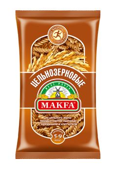 Makfa cпирали цельнозерновые, 450 г0120710Название говорит само за себя. Они произведены из цельносмолотой муки из твердых сортов пшеницы, а значит в них сохраняются все полезные свойства цельного зерна.Цельнозерновые богаче классических макаронных изделий растительным белком.Это вкусный и натуральный источник пищевых волокон, или клетчатки. По ее содержанию они превосходят обычные макаронные изделия из твердых сортов пшеницы почти в два раза!