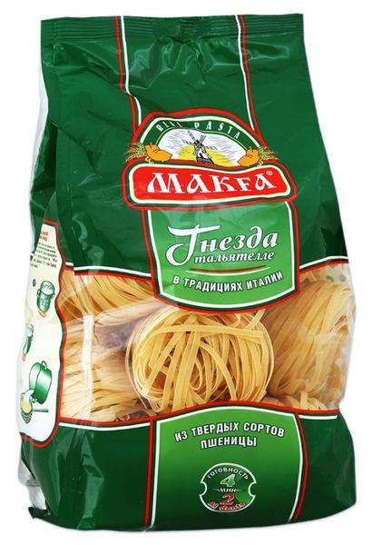 Makfa гнезда тальятелле, 450 г0120710Makfa Тальятелле - натуральный продукт, приготовленный по классической рецептуре макаронного теста: пшеничная мука высокого качества и чистейшая вода. Благодаря пшенице твердых сортов макароны Makfa прекрасно сохраняют форму и вкусовые свойства при варке.