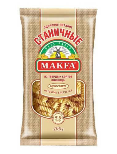 Makfa Станичные спирали, 400 г279-3Уникальная новинка для правильного питания, настоящий продукт для красоты и здоровья. В каждых 100 г продукта - 16,3 г растительного белка! А по содержанию клетчатки они в 1,3 раза опережают классические макароны из твердой пшеницы.Секрет Станичных - 2 сорт дурум. Благодаря макаронной крупке из твердой пшеницы перья, спирали и спагетти приобретают кремовый цвет с желтоватым оттенком.