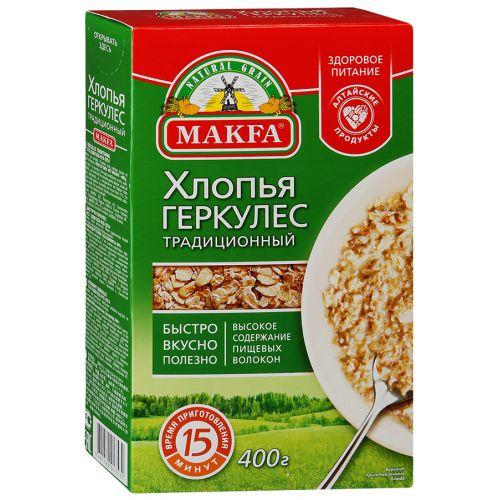 Makfa хлопья геркулес традиционный, 400 г0120710Силу, здоровье, выносливость, энергию и бодрость дают блюда, приготовленные из Геркулеса MAKFA. Ему присуще высокое содержание клетчатки, витаминов и антиоксидантов, макро- и микроэлементов. Каши и блюда из Геркулеса называют рецептом здоровья и долголетия.Они помогают восстанавливать силы после физической нагрузки и бороться со стрессами. Блюда из геркулесовых хлопьев MAKFA отличаются насыщенным вкусом.