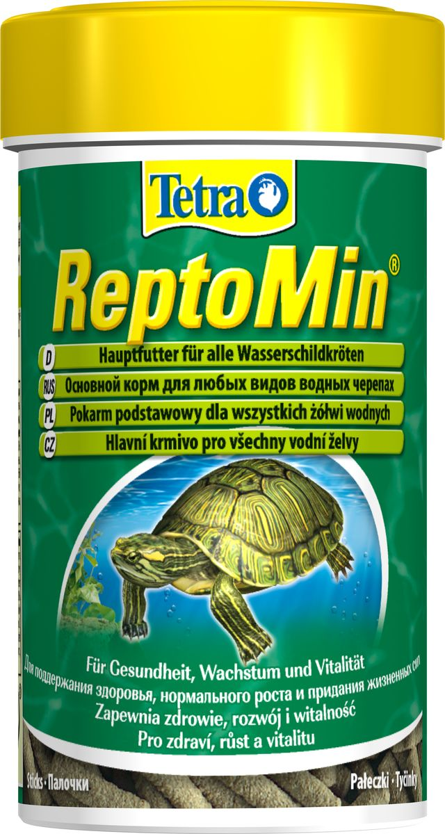 Корм для водных черепах Tetra ReptoMin, палочки, 55 г0120710Корм Tetra ReptoMin - полноценный сбалансированный питательный корм высшего качества для любых видов водных черепах. Поддерживает здоровье, нормальный рост и придает жизненные силы. Оптимальное соотношение кальция и фосфора для формирования твердого панциря и крепких костей. Запатентованная БиоАктив-формула обеспечивает здоровую иммунную систему.Состав: растительные продукты, рыба и побочные рыбные продукты, экстракты растительного белка, дрожжи, минеральные вещества, моллюски и раки, масла и жиры, водоросли. Аналитические компоненты: сырой белок 39%, сырые масла и жиры 4,5%, сырая клетчатка 2%, влага 9%, кальций 3,3%, фосфор 1,3%. Добавки: витамин А 29550 МЕ/кг, витамин Д3 1845 МЕ/кг, Е5 марганец 134 мг/кг, Е6 цинк 80 мг/кг, Е1 железо 52 мг/кг, Е3 кобальт 0,9 мг/кг, красители, антиоксиданты. Товар сертифицирован.Уважаемые клиенты!Обращаем ваше внимание на возможные изменения в дизайне упаковки. Качественные характеристики товара остаются неизменными. Поставка осуществляется в зависимости от наличия на складе.