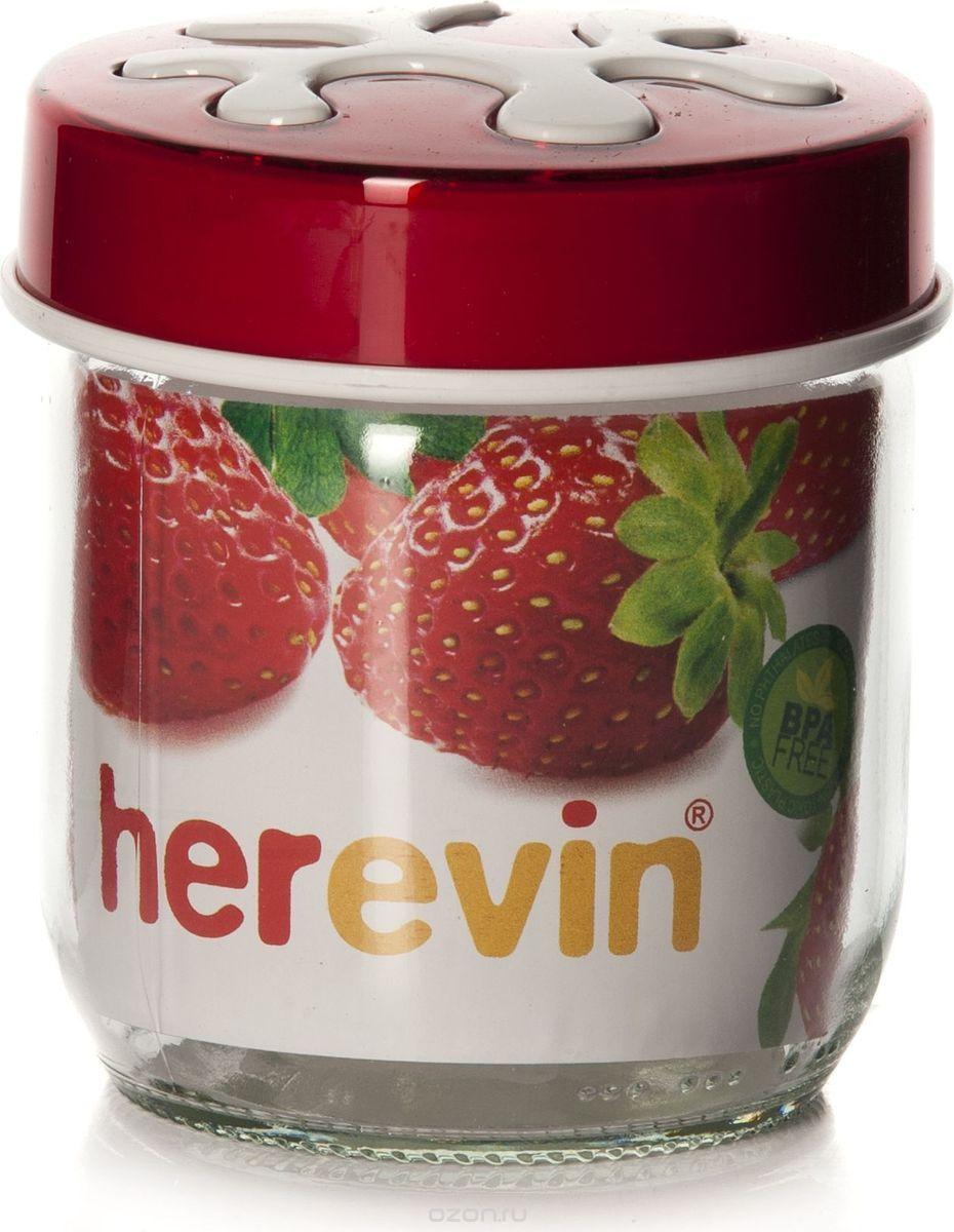 Банка для сыпучих продуктов Herevin, цвет: красный, 425 мл. 135357-000135357-000Банка для сыпучих продуктов Herevin изготовлена из прочного стекла. Прозрачные стенки позволяют видеть содержимое. Банка снабжена закручивающейся крышкой из прочного пластика. Изделие подходит для хранения разнообразных сыпучих продуктов, таких как крупы, сахар, соль, чай, кофе и многое другое. Банка сбережет ваши продукты от влаги, пыли и насекомых и надолго сохранит их свежими.Диаметр банки: 7,5 см. Высота банки (с учетом крышки): 10 см.
