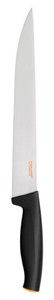 Нож для мяса Fiskars, 24 см1014193Тонкое лезвие с заостренным концом идеально подходит для нарезания мяса.Особенности ножа:Высокое качество: безопасность, прочность, гигиеничность.Функциональность: легко использовать, мыть и хранить.Привлекательный дизайн.Высококачественная сталь и заточка обеспечивают остроту лезвия.Длинное лезвие запрессовано в рукоятку.Современный и очень удобный дизайн рукоятки.Улучшенный материал рукоятки: SoftGrip, улучшена устойчивость к мытью в посудомоечной машине.
