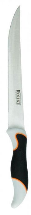 Нож разделочный Regent Inox Torre, длина лезвия 20 см93-KN-TO-3Разделочный нож Regent Inox Torre изготовлен из высококачественной нержавеющей стали. Острое лезвие ножа имеет ровную поверхность и выверенный угол заточки. Специальная закалка металла повышает прочность изделия. Сбалансированность ножа обеспечивает приложение минимальных усилий при резке. Лезвие ножа не впитывает запахи и не оставляет запаха на продуктах.Оригинальная и практичная ручка выполнена из бакелита c прорезиненной поверхностью.Нож с длинным, средним по ширине клинком применяется для разделки крупных и средних овощей, нарезки больших кусков мяса, курицы, крупной рыбы. Такой нож займет достойное место среди аксессуаров на вашей кухне. Характеристики:Материал: нержавеющая сталь 18/10, бакелит. Общая длина ножа: 33 см. Длина лезвия: 20 см. Артикул: 93-KN-TO-3.