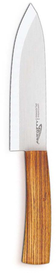 Нож универсальный Ладомир, циркониевая керамика, длина лезвия 15 см. Е7АКА1524110-SKУниверсальный нож Ладомир выполнен из циркониевой керамики белого цвета. Рукоять изготовлена из древесины бамбука. Очень удобная и эргономичная ручка не позволит выскользнуть ножу из вашей руки. Нож применяется для разделки овощей, рыбы и других продуктов, поэтому позволит резать продукты без особого труда. Такой нож займет достойное место среди аксессуаров на вашей кухне. Особенности универсального ножа Ладомир: - уникальный коэффициент твердости по Роквеллу - НRС 85. Прочнее только алмазы! - обжигается при температуре более 1500°C; - износостойкость лезвия превосходит любые стали почти в 100 раз; - в 2 раза легче, чем стальные ножи; - абсолютная химическая нейтральность; - не рекомендуется мыть в посудомоечной машине; - нельзя резать кости, очень твердые и замороженные продукты; - категорически нельзя рубить или ковырять жесткие части продуктов, а также скоблить; - беречь нож от падения с высоты. Характеристики:Материал: циркониевая керамика, бамбук. Общая длина ножа: 26,5 см. Размер лезвия (Д х Ш х В): 15 см х 3,5 см х 0,2 см. Вязкость разрушения: 9 МПа м^1/2.Прочность на изгиб: ~ 930МПа. Изготовитель: Китай. Артикул: Е7АКА15.