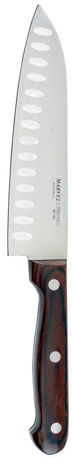 Нож сантоку Marvel, длина лезвия 16 см. 86160STS-99_серый, зеленыйНож сантоку Marvel - незаменимый помощник на вашей кухне. Лезвие, изготовленное из стали, более стойкое к воздействию кислот, содержащихся в продуктах, более гигиенично и не подвержено коррозии. Кроме того, лезвие из стали сохраняет остроту дольше, чем другие ножи. Легкая, отлично сбалансированная и приятная на ощупь рукоятка удобна в использовании. Такой нож идеально подходит для измельчения, нарезки ломтиками и кубиками овощей, фруктов, рыбы и мяса.