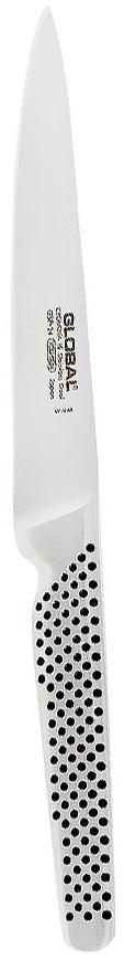 Нож универсальный Global Yoshikin, длина лезвия 15 см. GSF-241014205Лезвие ножа Global Yoshikin выполнено из высококачественной стали Cromova, которая является молибден-ванадиевой сталью, с твердостью 56-58 градусов по Роквеллу. Эта сталь, холодной закалки, тупится намного медленнее, чем обычная нержавеющая сталь и устойчива ко всем видам коррозии. Рукоятка выполнена из пустотелой нержавеющей стали с узором черные точки и имеет анатомический хват, благодаря чему не скользит в руке. Нож гигиенически безопасен, т.к. имеет гладкие контуры и бесшовную конструкцию исключающую скопление пищи и грязи. Нож Global Yoshikin порадует любую хозяйку, ведь готовить теперь станет еще проще и приятнее. ВНИМАНИЕ: Нож нельзя мыть в посудомоечной машине!Характеристики:Материал лезвия: Cromova 18 Stainless Steel.Материал рукояти: Stainless Steel (нержавеющая сталь).Твердость по шкале Роквелла: 56-58 Hrc.Тип режущей кромки лезвия: двусторонняя симметричная.Угол заточки: 20°.Общая длина ножа: 27 см.Максимальная толщина лезвия по верхней кромке: 2 мм.