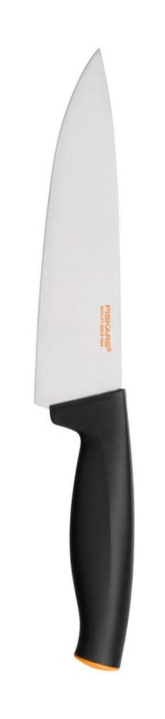 Поварской нож Fiskars, с широким лезвием, 16 см1014195Поварской нож Fiskars прекрасно подойдет для шинковки овощей и нарезки мяса. Особенности ножа:Высокое качество: безопасность, прочность, гигиеничность.Функциональность: легко использовать, мыть и хранить.Привлекательный дизайн.Высококачественная сталь и заточка обеспечивают остроту лезвия.Длинное лезвие запрессовано в рукоятку.Современный и очень удобный дизайн рукоятки.Улучшенный материал рукоятки: SoftGrip, улучшена устойчивость к мытью в посудомоечной машине.