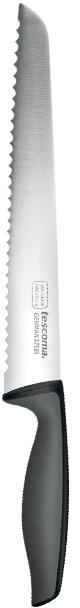 Нож для хлеба Tescoma Precioso, длина лезвия 20см881250Нож хлебный Tescoma Precioso имеет лезвие с зубчатой кромкой, что очень удобно для резки любых хлебобулочных изделий. Лезвие выполнено из качественной нержавеющей стали, эргономичная ручка - из прочной пластмассы с антискользящим покрытием. Лезвие сформировано и заточено для максимальной эффективности и безопасности при использовании. Можно мыть в посудомоечной машине. Общая длина ножа: 33,5 см.