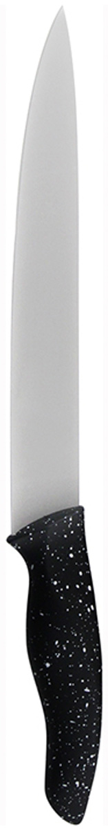 Нож для шинковки Marta Slicer, длина лезвия 20 см. MT-28686.8523.17BНож Marta Slicer выполнен из высококачественной пищевой нержавеющей стали и керамическим покрытием. Нож для нарезки имеет гладкое острозаточенное лезвие, а также стильное исполнение ручки удобной формы, обеспечивающей плотный контакт с ладонью, со специальным покрытием, предотвращающим скольжение в руке. Изделие предназначено для шинковки, нарезки овощей и фруктов. Нож можно точить. Нож можно мыть в посудомоечной машине.Длина ножа: 31,8 см.Толщина лезвия: 2 мм.