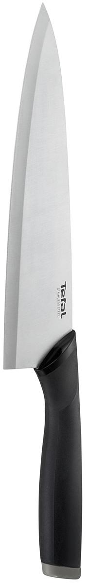 Нож поварской Tefal Comfort, длина лезвия 20 см1016478Нож поварской Tefal Comfort предназначен для рубки зелени, нарезки крупных овощей и мяса. Широкое лезвие выполнено из нержавеющей стали. Эргономичная ручка из материала Comfort touch в чувствительной зоне использования гарантирует оптимальный комфорт. Нож удобно использовать и хранить благодаря защитному чехлу. Можно мыть в посудомоечной машине.