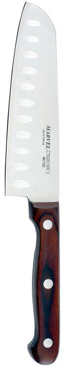 Нож сантоку Marvel, длина лезвия 12,5 см. 8615086150Нож сантоку Marvel - незаменимый помощник на вашей кухне. Лезвие, изготовленное из стали, более стойкое к воздействию кислот, содержащихся в продуктах, более гигиенично и не подвержено коррозии. Кроме того, лезвие из стали сохраняет остроту дольше, чем другие ножи. Легкая, отлично сбалансированная и приятная на ощупь рукоятка удобна в использовании. Такой нож идеально подходит для измельчения, нарезки ломтиками и кубиками овощей, фруктов, рыбы и мяса. Общая длина ножа: 22,5 см.