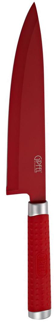 Нож разделочный Gipfel Zing, цвет: красный, длина лезвия 20,3 смFS-91909Разделочный нож Gipfel Zing изготовлен из высококачественной нержавеющей стали с лазерной эмблемой бренда. Ножи прекрасно держат заточку, не ржавеют, очень прочны и легки в использовании и уходе. Удобная рукоятка ножа, выполненная из нержавеющей стали с силиконовым покрытием, не позволит выскользнуть ему из руки. Нож Gipfel Zing займет достойное место среди аксессуаров на вашей кухне.