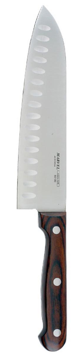 Нож сантоку Marvel Rose Wood Original, длина лезвия 20 смPC-MS 1090Нож сантоку Marvel Rose Wood Original - незаменимый помощник на вашей кухне. Лезвие, изготовленное из стали, более стойкое к воздействию кислот, содержащихся в продуктах, более гигиенично и не подвержено коррозии. Кроме того, лезвие из стали сохраняет остроту дольше, чем другие ножи. Легкая, отлично сбалансированная и приятная на ощупь рукоятка удобна в использовании. Такой нож идеально подходит для измельчения, нарезки ломтиками и кубиками овощей, фруктов, рыбы и мяса. Общая длина ножа: 32 см.