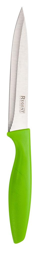 Нож универсальный Regent Inox Linea Filo, для овощей, 12 х 23,5 см200591_белый, черныйНож Regent Inox Linea Filo идеален для нарезки овощей и фруктов. Такое изделие пригодится каждой хозяйки. Этот кухонный аксессуар сделан из нержавеющей стали и пластика. Данные материалы обладают потрясающей прочностью, антикоррозионными свойствами и долгим сроком службы. Посуда 93-KN-TA-6.1 предназначена для профессионального и домашнего использования. Эргономичная ручка синего цвета удобно ложится в ладонь, позволяя очень точно контролировать глубину надреза. Изделие является экологичным: оно не вступают в химическую реакцию с продуктами, сохраняя их натуральный вкус.