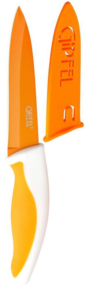 Нож универсальный Gipfel Picnic, с чехлом, цвет: оранжевый, длина лезвия 10 см94672Универсальный нож Gipfel Picnic изготовлен из высококачественной высокоуглеродистой нержавеющей стали. Высокое содержание углерода способствует долгому сохранению заточки, а нержавеющая сталь обеспечивает устойчивость к коррозии и пятнообразованию. Такие ножи прекрасно держат заточку, не ржавеют, очень прочны и легки в использовании и уходе. Удобная рукоятка ножа, выполненная из пластика, не позволит выскользнуть ему из руки. Нож Gipfel Picnic займет достойное место среди аксессуаров на вашей кухне. В комплекте имеется пластиковый чехол.
