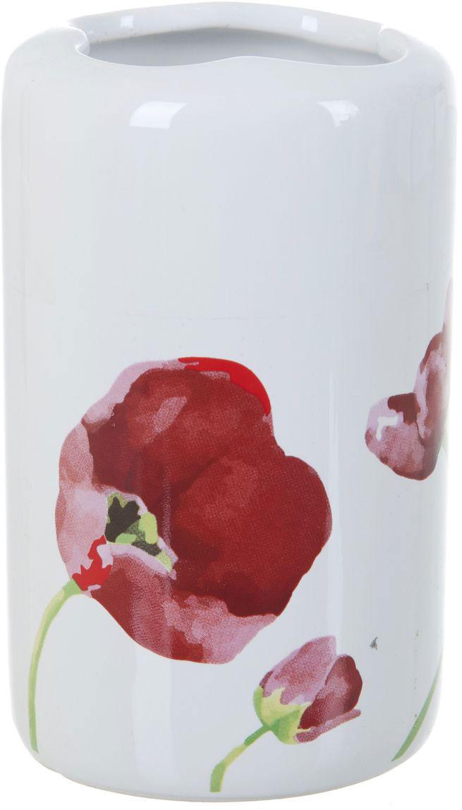 Стакан для зубных щеток ENS Group Красные тюльпаны, 300 мл12723Стакан для зубных щеток ENS GROUP Красные тюльпаны изготовлен из натуральной и элегантной керамики белого цвета, с изображением цветов.Изделие прекрасно дополнит интерьер вашей ванной комнаты и отлично сочетается с другими аксессуарами из коллекции Красные тюльпаны.