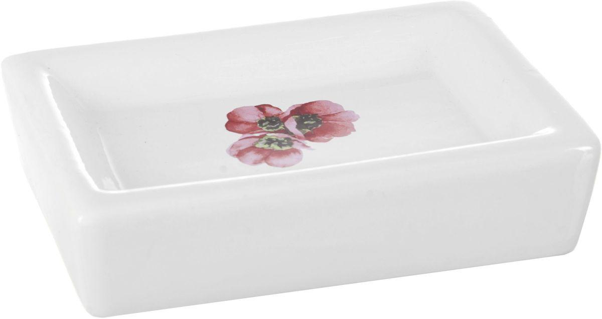 Мыльница ENS Group Красные тюльпаны391602Мыльница ENS GROUP Красные тюльпаны изготовлена из натуральной и элегантной керамики белого цвета, удобной квадратной формы, с изображением тюльпана.Изделие прекрасно дополнит интерьер вашей ванной комнаты и отлично сочетается с другими аксессуарами из коллекции Красные тюльпаны.