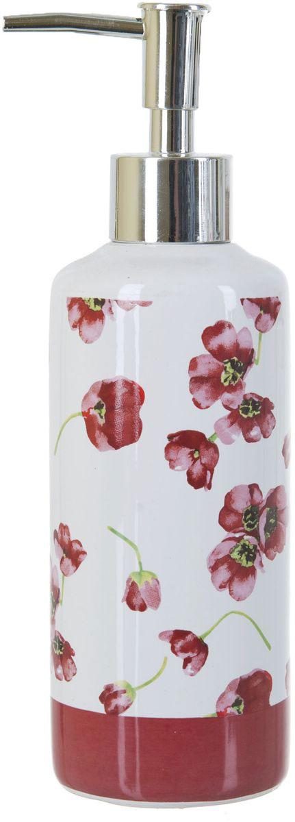 Диспенсер для жидкого мыла ENS Group Красные тюльпаны, 300 мл13296Диспенсер для жидкого мыла ENS GROUP Красные тюльпаны имеет емкость из прочной глазурованной керамики. Металлический дозатор позволяет легко выдавливать нужное количество жидкого мыла. Изделие красиво дополнит интерьер ванной комнаты и создаст особую атмосферу уюта и комфорта.