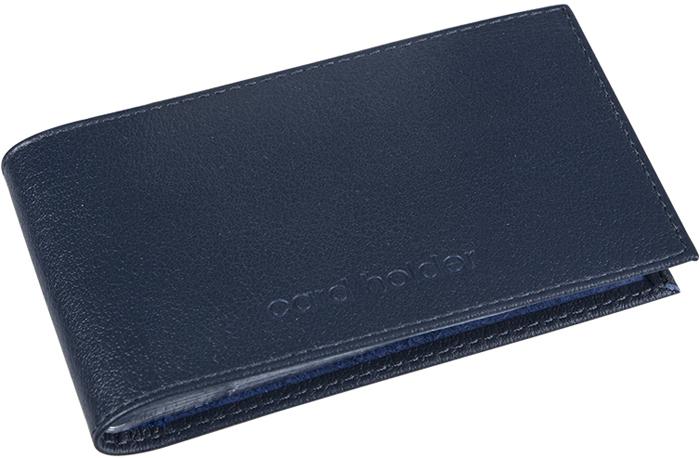 Визитница мужская Befler Грейд, цвет: темно-синий. K.5.-9INT-06501Визитница из коллекции «Грейд» выполнена из натуральной кожи и оформлена тиснением с названием бренда. На внутреннем развороте 2 кармана из прозрачного пластика. Внутренний блок на 40 визитных и 20 кредитных карт.