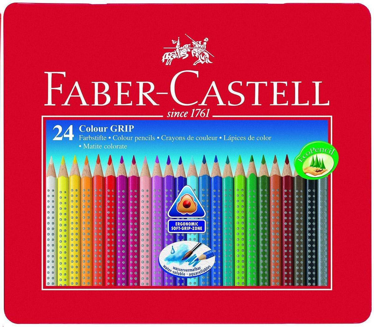 Faber-Castell Цветные карандаши Grip 24 шт112423Цветные карандаши Faber-Castell Grip станут незаменимым инструментом для начинающих и профессиональных художников. В набор входят 24 карандашей разных цветов.Особенности карандашей:запатентованная GRIP-антискользящая зона захвата с малыми массажными шашечками;яркие, насыщенные цвета; размываемый водой грифель; специальное место для имени; отстирываются с большинства обычных тканей; специальная технология вклеивания (SV)предотвращает поломку грифеля; покрыты лаком на водной основе - бережным по отношению к окружающей среде и здоровью детей; качественное, мягкое дерево - гарантия легкого затачивания при помощи стандартных точилок; эргономичная трехгранная форма.Набор цветных карандашей - это практичный художественный инструмент, который поможет вам в создании самых выразительных произведений.