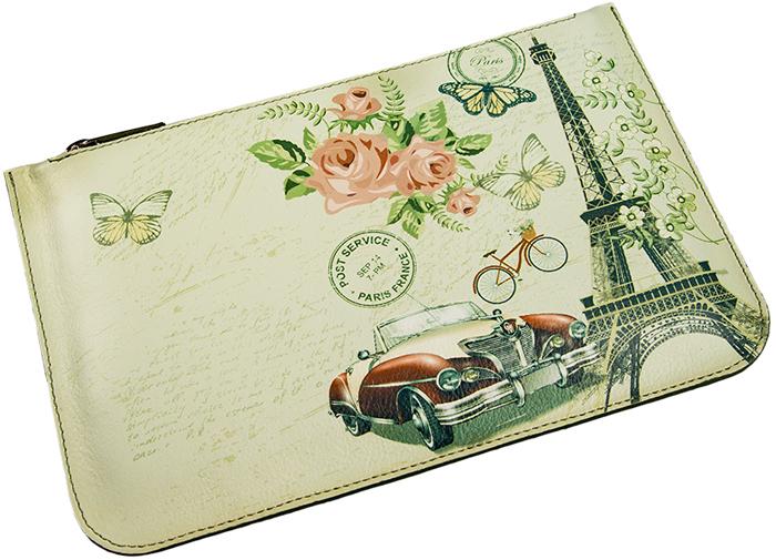 Косметичка Befler Postcard, цвет: молочный, зеленый. KS.30.-7INT-06501Стильная косметичка из коллекции «London» выполнена из натуральной кожи и оформлена оригинальным принтом. Закрывается на молнию. Внутри вместительное отделение.