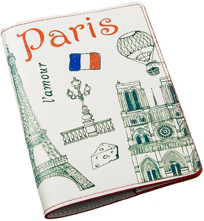 Обложка для паспорта женская Befler Paris, цвет: белый, зеленый. O.85.-7INT-06501Обложка для паспорта из коллекции «Paris» выполнена из натуральной кожи и оформлена оригинальным принтом. На внутреннем развороте два кармана из прозрачного пластика с выемкой.