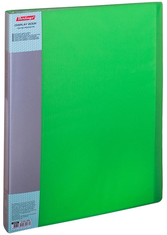Berlingo Папка Diamond с 40 вкладышами цвет салатовыйAM4710Функциональная папка с прозрачными вкладышами удобна для хранения и демонстрации документов формата А4. На папке предусмотрена сменная этикетка на корешке для маркировки. Изготовлена из фактурного полупрозрачного пластика.Ширина корешка - 21 мм.