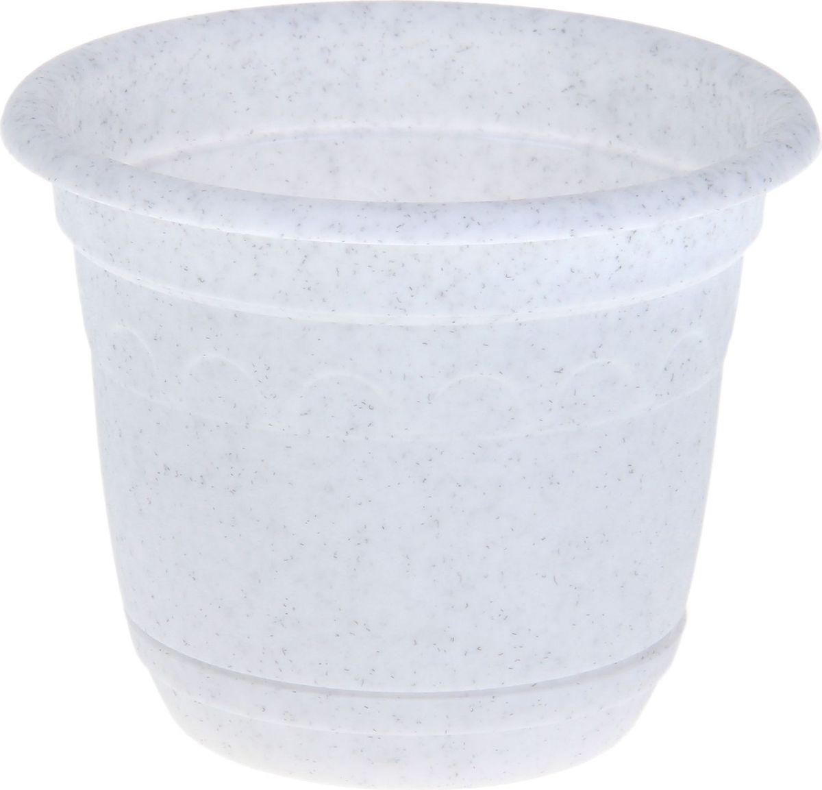 Горшок Martika Колывань, с поддоном, цвет: мрамор, 0,45 л531-402Любой, даже самый современный и продуманный интерьер будет не завершённым без растений. Они не только очищают воздух и насыщают его кислородом, но и заметно украшают окружающее пространство. Такому полезному &laquo члену семьи&raquoпросто необходимо красивое и функциональное кашпо, оригинальный горшок или необычная ваза! Мы предлагаем - Горшок 0,45 л Колывань с поддоном d=11 см, цвет мрамор!Оптимальный выбор материала &mdash &nbsp пластмасса! Почему мы так считаем? Малый вес. С лёгкостью переносите горшки и кашпо с места на место, ставьте их на столики или полки, подвешивайте под потолок, не беспокоясь о нагрузке. Простота ухода. Пластиковые изделия не нуждаются в специальных условиях хранения. Их&nbsp легко чистить &mdashдостаточно просто сполоснуть тёплой водой. Никаких царапин. Пластиковые кашпо не царапают и не загрязняют поверхности, на которых стоят. Пластик дольше хранит влагу, а значит &mdashрастение реже нуждается в поливе. Пластмасса не пропускает воздух &mdashкорневой системе растения не грозят резкие перепады температур. Огромный выбор форм, декора и расцветок &mdashвы без труда подберёте что-то, что идеально впишется в уже существующий интерьер.Соблюдая нехитрые правила ухода, вы можете заметно продлить срок службы горшков, вазонов и кашпо из пластика: всегда учитывайте размер кроны и корневой системы растения (при разрастании большое растение способно повредить маленький горшок)берегите изделие от воздействия прямых солнечных лучей, чтобы кашпо и горшки не выцветалидержите кашпо и горшки из пластика подальше от нагревающихся поверхностей.Создавайте прекрасные цветочные композиции, выращивайте рассаду или необычные растения, а низкие цены позволят вам не ограничивать себя в выборе.