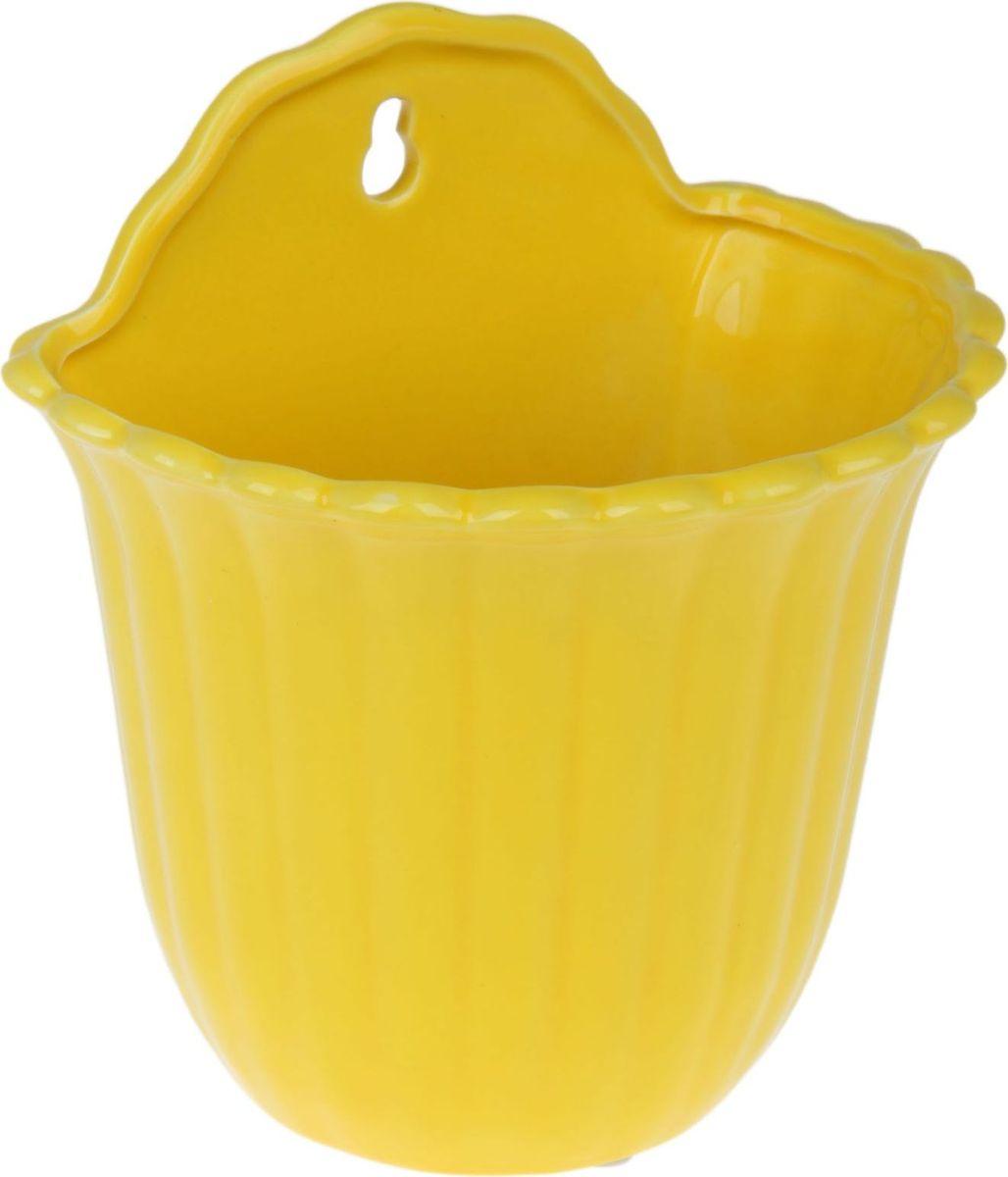 Кашпо Константа, цвет: желтый, 16 х 12 х 19 см531-401Большинство людей любит комнатные растения: они радуют глаз, насыщают помещение кислородом и украшают пространство.Но каждому растению необходимо своё удобное и красивое место. Настенные кашпо — это ещё и оригинальный способ украшения помещений. Особенно выигрышно они смотрятся в экстерьере: на террасах и в беседках.Кашпо настенное Константа жёлтое, изогнутый край позаботится о растении, освежит окружающее пространство и подчеркнёт его стиль.