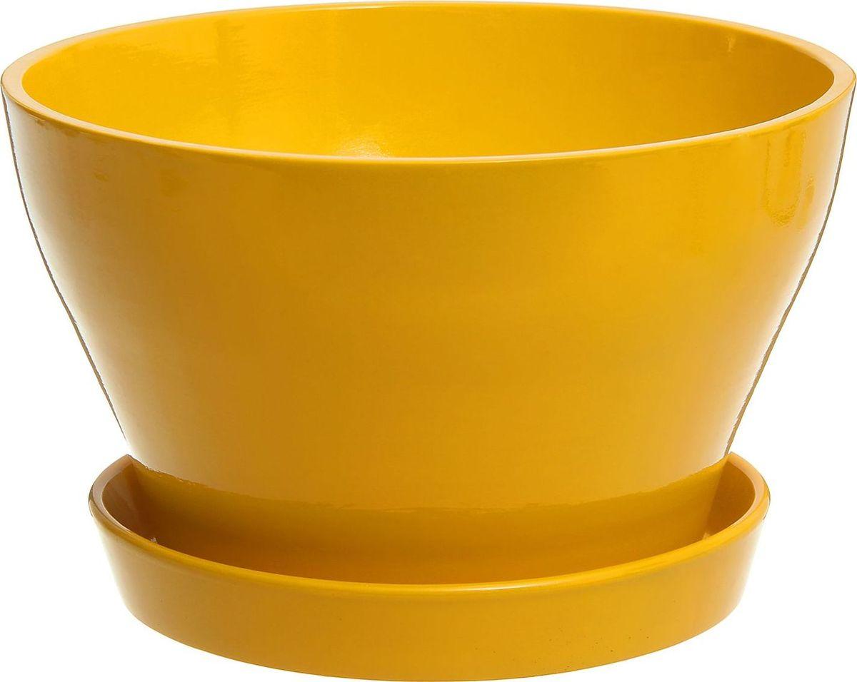 Кашпо Керамика ручной работы Ксения. Бокарнея, цвет: желтый, 7,4 л531-401Кашпо серии «Каменный цветок» выполнено из белой глины методом формовки и покрыто лаком. Керамическая ёмкость имеет объём, оптимальный для создания наилучших условий развития большинства растений.Устойчивый глубокий поддон защитит поверхность стола или подставки от жидкости.Благодаря строгим стандартам производства изделия отличаются правильной формой, отсутствием дефектов, имеют достаточную тяжесть для надёжной фиксации конструкции.Окраска моделей не восприимчива к прямым солнечным лучам, а в цветовой гамме преобладают яркие и насыщенные оттенки.Красота, удобство и долговечность кашпо серии «Каменный цветок» порадует любителей высококачественных аксессуаров для комнатных растений.