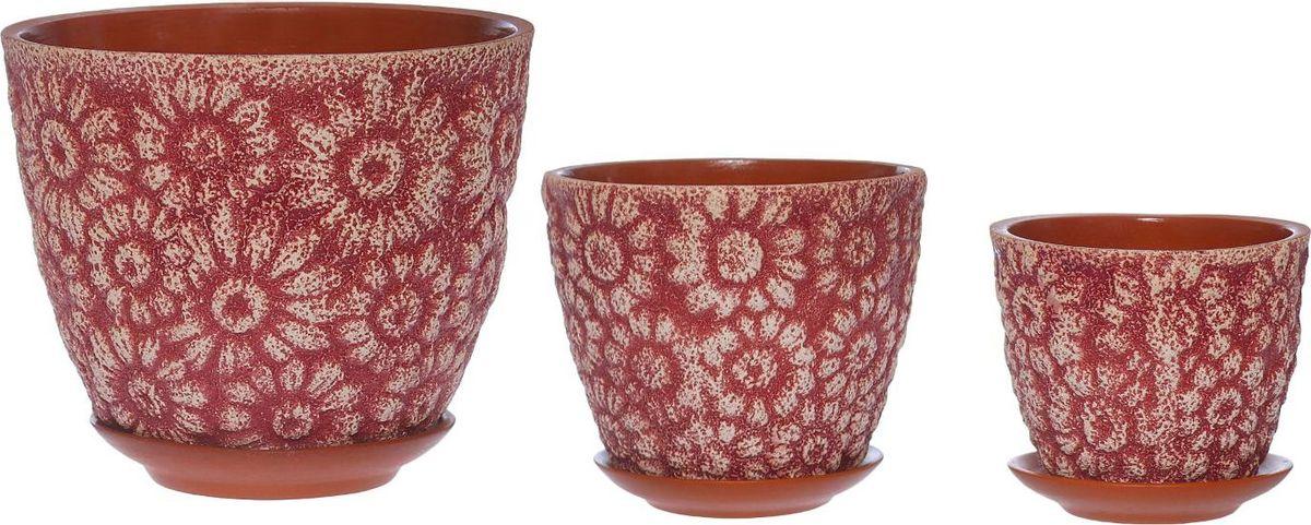 Набор кашпо Гербера, цвет: розовый, 3 предмета531-326Набор кашпо 3 шт. Гербера пинк (1 сорт ) Цветная глазурь 3л,2л,1л 1267495