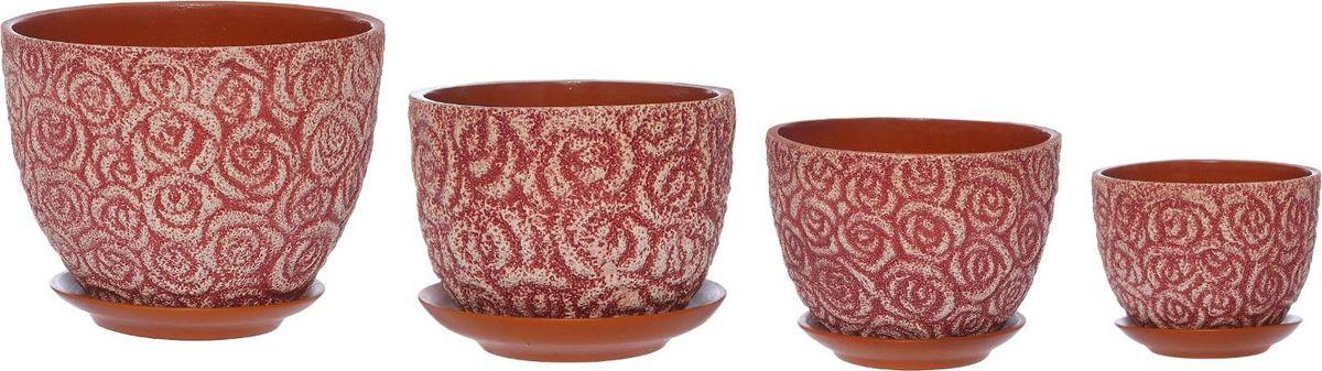 Набор кашпо Розы, цвет: розовый, 4 предмета531-324Набор кашпо 4 шт Спрей пинк (1 сорт ) Цветная глазурь 4л,3л,2л,1л 1267499