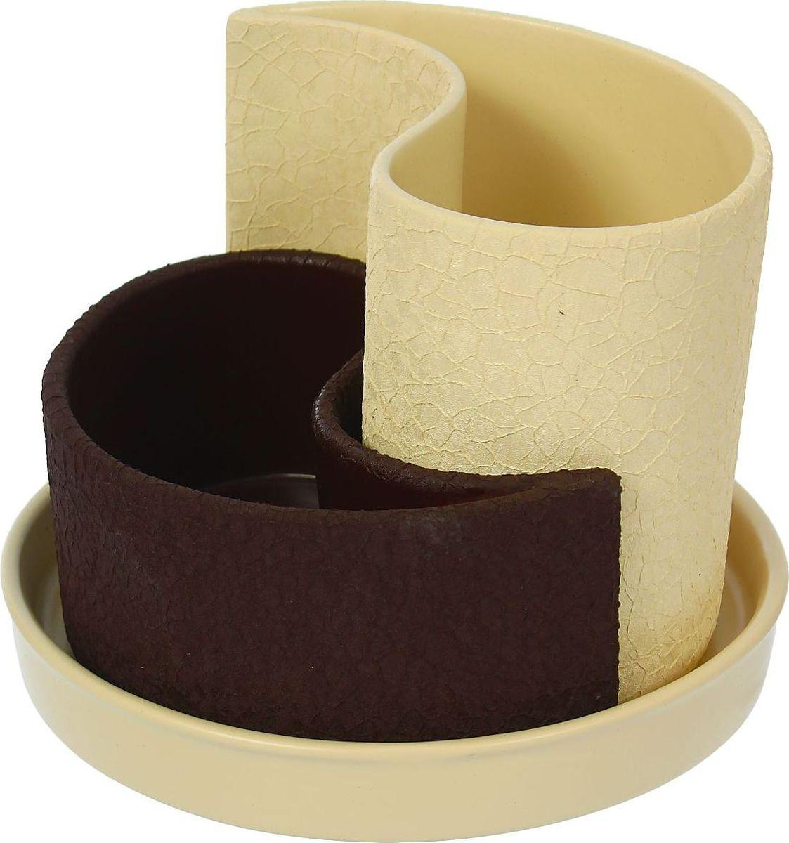 Набор кашпо Керамика ручной работы Капля, цвет: бежевый, шоколадный, 2 предмета531-105Горшок Капля 0,7л,1,3л Шелк бежево-шоколадный 1309273