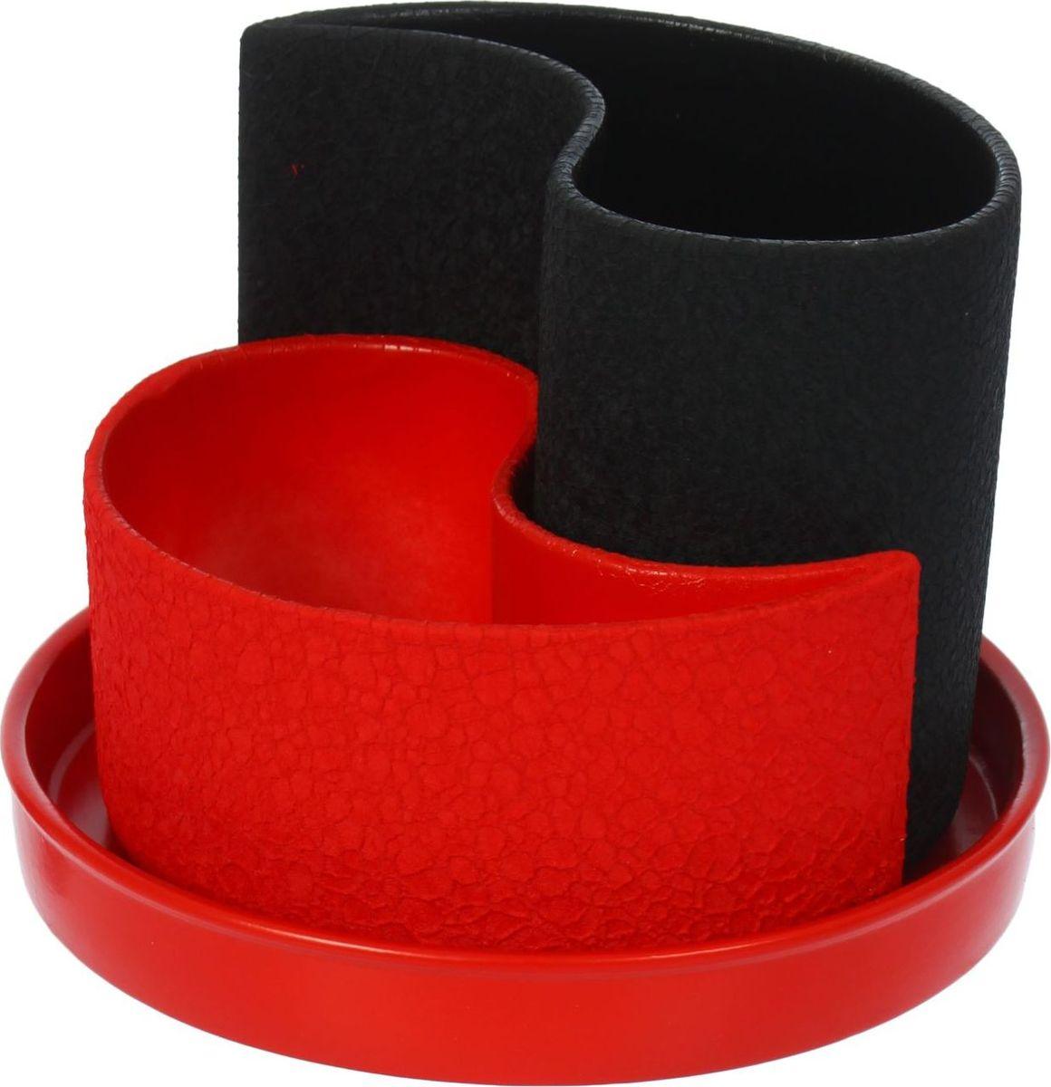 Набор кашпо Керамика ручной работы Капля, цвет: черный, красный, 2 предмета531-103Горшок Капля 0,7л,1,3л Шелк черно-красный 1309275