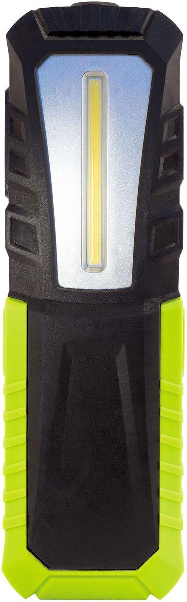 """Фонарь Яркий луч ОPTIMUS ACCU v.2 mаxiKOC2028LED""""OPTIMUS ACCU"""" v.2 maxi. Особенности: - Мощный светодиод SMD 1 Вт в головной части фонаря для направленного света. - Cветодиод Cob 5 Вт 6500К на боковой грани для местного освещения.- Встроенный литий-ионный аккумулятор 3.7 В 4400 мАч. - Сильный магнит для удобного размещения фонаря на металлической поверности под любым углом. - Складывающийся крючок и клипса для подвешивания. - Регулировка положений фонаря относительно опоры на горизонтальной поверхности. - Крепкий ударопрочный пластиковый корпус с резиновым покрытием. - USB-кабель для зарядки аккумулятора. - Индикация уровня заряда аккумулятора. Два режима работы. «Прожектор»: 1 Вт светодиод (40 лм) обеспечит направленным светом дальнего действия, время работы – до 16 часов. Включается нажатием и удержанием (3 сек) кнопки включения. «Кемпинг»: 5 Вт (420 лм) светодиод – рассеянный свет для местного освещения, время работы (макс) – до 6 часов. Возможность регулировки положений (4 варианта) относительно опоры фонаря. Сильный магнит позволит закрепить его на металлической поверхности под любым углом для удобства работы. На задней грани фонаря находится складывающийся крючок и клипса для подвешивания. Встроенный литий-ионный аккумулятор 3.7 В 4400 мАч. В комплект входит USB-кабель для зарядки аккумулятора. Гарантийный срок 2 года, срок службы 5 лет."""