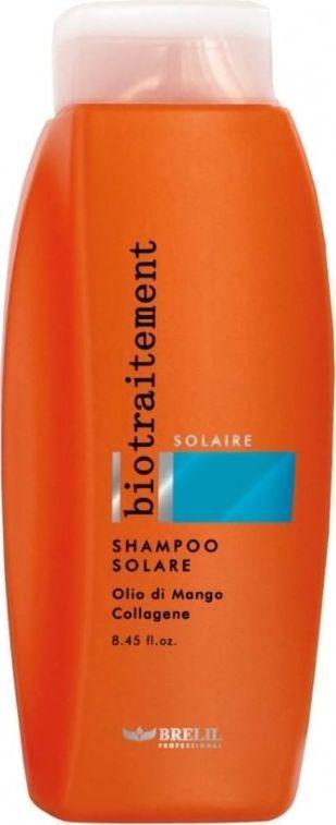 Brelil Bio Traitement Solaire Shampoo Solare Шампунь после солнца 250 млFS-00897Шампунь после пребывания на солнце, идеальное средство для увлажнения волос. Благодаря манговому маслу и коллагену увлажняет и питает волосы, поврежденные солнечными лучами и морской водой. Подходит для частого применения.