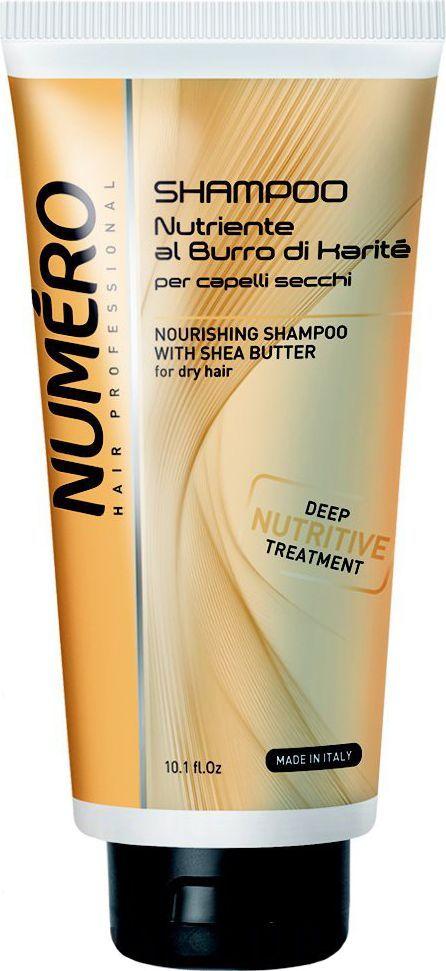 Brelil Numero Shea Butter Шампунь с маслом карите для сухих волос 300 млB080087Питательный шампунь интенсивно восстанавливает структуру, оздоравливает сухие, тусклые, повреждённые химической обработкой волосы, дисциплинирует волосяное волокно, убирая неэстетичный эффект распушивания. После применения волосы приобретают мгновенный блеск, мягкость и увлажнение.