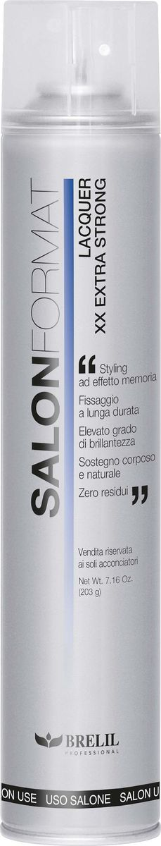 Brelil Salon Format Fixing Spray Extra Strong Лак экстра сильной фиксации 500 млB201008Незаменимая вещь в любом салоне красоты – лак для волос Brelil Salon Format Fixing Spray Extra Strong для создания прически экстрасильной фиксации.