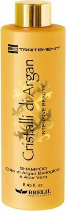 Brelil Bio Traitement Cristalli di Argan Shampoo Шампунь для волос с маслом Аргании и Алоэ 250 млB67251В состав шампуня для волос с алоэ и маслом Аргании от Brelil Professional входят два компонента натурального происхождения: аргановое масло и алоэ вера. Комбинированное действие этих компонентов обеспечивает полноценное и интенсивное питание волос, придает им пышность и объем, шелковистость и необычайный блеск.