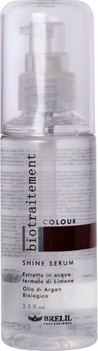 Brelil Bio Traitement Colour Shine Serum Сыворотка для окрашенных волос 75 млFS-00897Brelil Bio Traitement Colour Mask Shine Serum Сыворотка для окрашенных волос . Идеально подходит для дополнительного ухода за окрашенными волосами, не требует смывания. Сыворотка содержит в составе аргановое масло, которое относится к числу самых дорогостоящих и редких масел в мире. Аргановое масло осуществляет полноценное питание волос, смягчает волосы, делая их гибкими и шелковистыми, придаёт им великолепный блеск и разглаживает кутикулу, оказывает освежающее воздействие на кожу головы. Натуральный лимонный экстракт защищает структуру волос от тепловых воздействий (например, при укладке волос при помощи фена), воздействия солнечных лучей и высокой влажности.Сыворотка Брелил Colour Mask Serum придаёт окрашенным волосам великолепную эластичность, наделяет волосы блеском и сиянием.Активные компоненты: аргановое масло, лимонный экстракт, термальная вода.