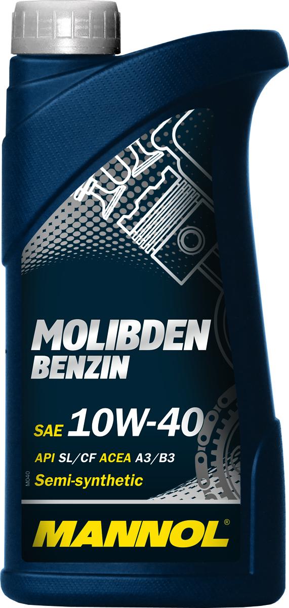 Моторное масло MANNOL Molibden Benzin, 10W-40, API SL/CF, полусинтетическое, 1 лS03301004Mannol Molibden Benzin 10W40 - универсальное всесезонное полусинтетическое моторное масло, предназначенное для новых поколений всех типов двигателей. Эффективно снижает износ на всех режимах работы двигателя за счет формирования на сопряженных поверхностях трения уникальной защитной пленки, выдерживающей экстремальные нагрузки. Исключает задир. Обладает оптимальными низкотемпературными характеристиками. Отличается стабильной вязкостью в течение всего срока эксплуатации. Предотвращает угар масла.Допуски и соответствия ACEA A3/B3